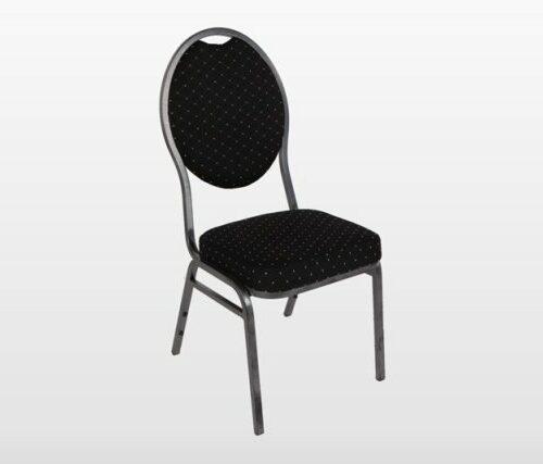 Bankettstuhl schwarz, gepolstert, Rahmen schwarz